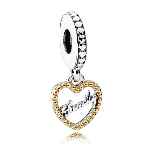Pandora 14k Gold And Silver Family Dangle Charm P 390 family script with 14k dangle charm cheap pandora charms silver pensplace