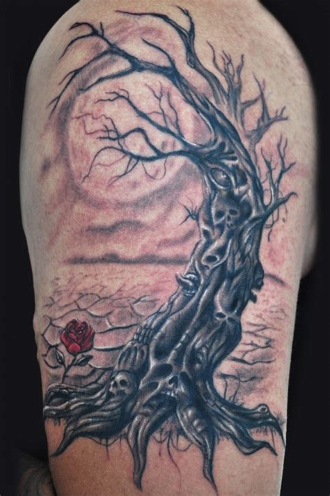 dead rose tattoos dead tree and tattoomagz