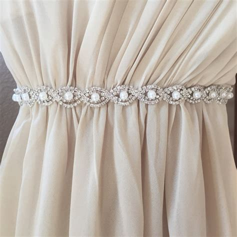 Full Length Pearl And Rhinestone Bridal Belt With Clasp