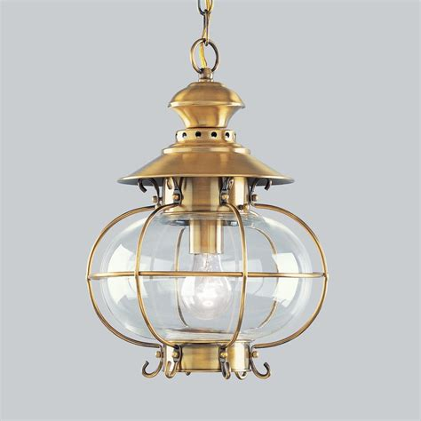 hanging light not hardwired shop livex lighting harbor 15 in flemish brass hardwired