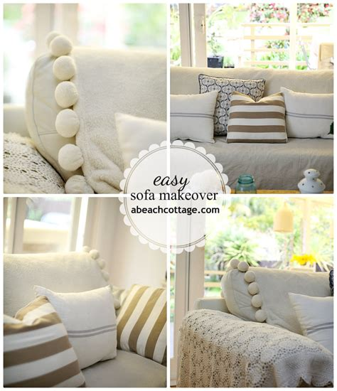 No Sew Sofa Makeover How To Cover A Sofa With Fabric How To Sew A Sofa Slipcover