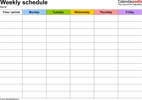 download blank daily weekly work schedule template word