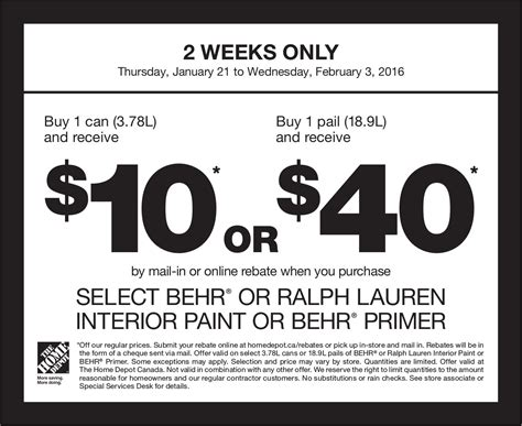 home depot canada paint rebate offer buy 1 can 3 78l