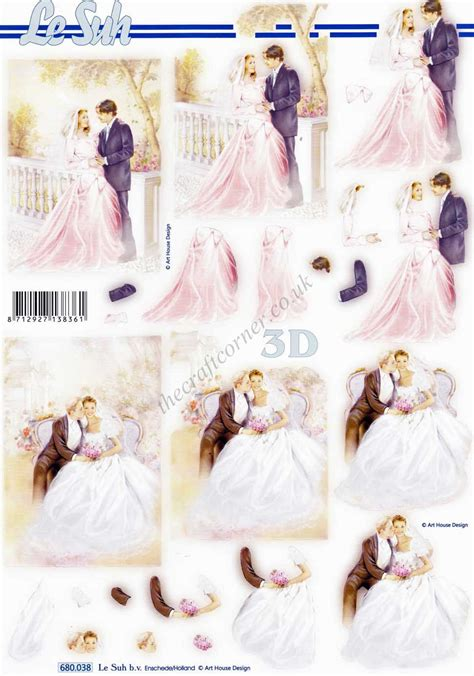Wedding Decoupage Sheets - wedding die cut 3d decoupage sheet from le suh