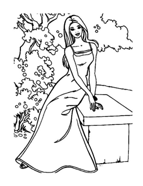 barbie winter coloring pages barbie doll with dress at the garden coloring pages