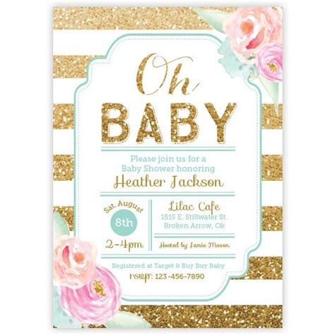 gold and pink flower cards template floral gold glitter baby shower invitation ellison reed