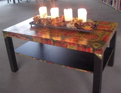 decoupage dining table lack ikea hackers