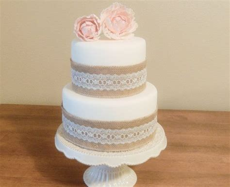 Pin Assembling Multi Tiered Cakes Two Tier Fondant Wedding Cake Artificial With Burlap Lace Mr Mrs Smith Pinterest