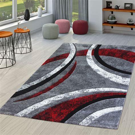 wohnzimmer teppich rot teppich wohnzimmer gestreift modern mit konturenschnitt in