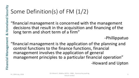 Mba Accounting Definition by Unit 1 Financial Management Gfsu Mba Forensic Accounting
