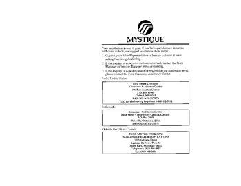 car repair manuals online pdf 1996 mercury mystique download 1996 mercury mystique owner s manual pdf 284