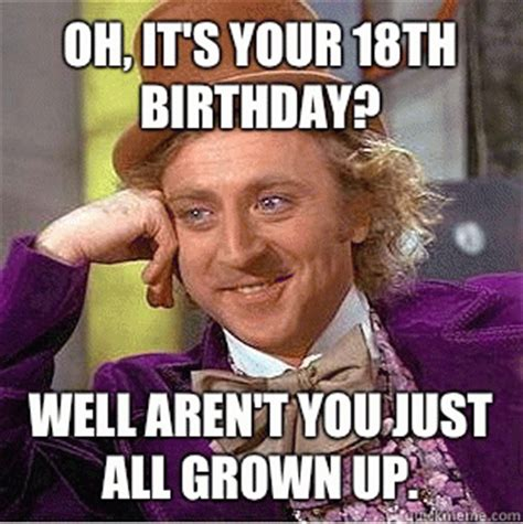 18th Birthday Memes - oh it s your 18th birthday well aren t you just all