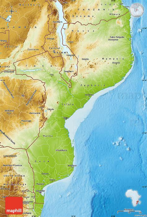 physical map of mozambique mosambik geographischen karte
