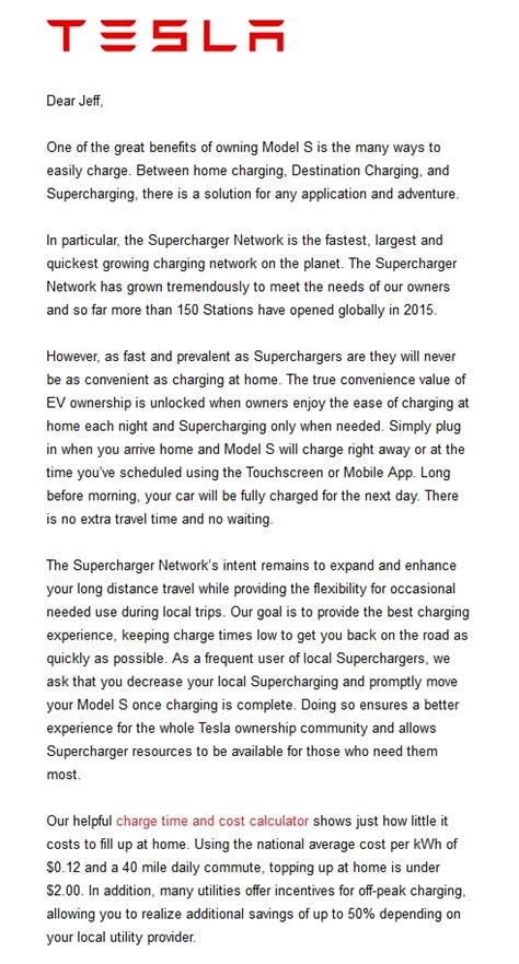 Tesla Letter Tesla Letter To Rein In Local Supercharger Use Goes Wrong
