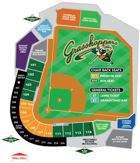 stadium map greensboro grasshoppers ballpark