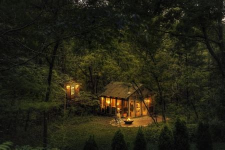 cabin in the woods at dusk nature hd photo wallpapers