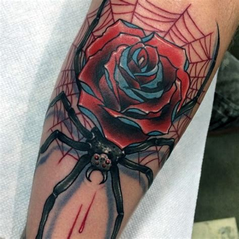spider rose tattoo school style colored bloody spider on leg with