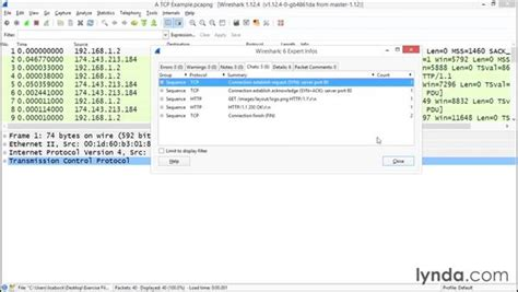 wireshark tutorial lynda displaying wireshark s expert system
