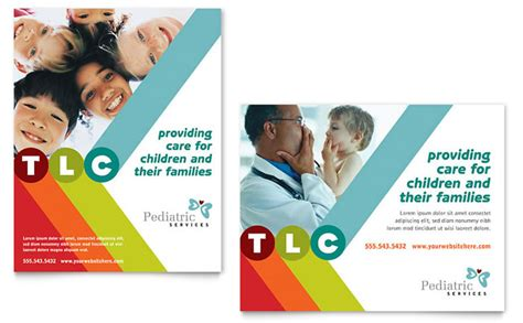 Pediatrician Child Care Poster Template Design Free Pediatric Brochure Templates