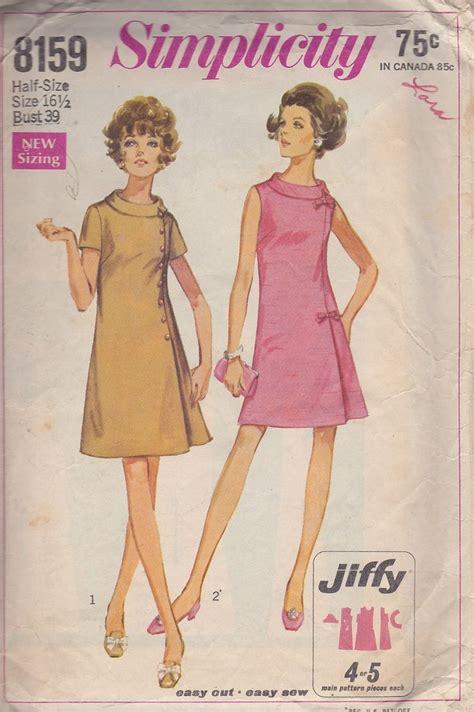 pattern dress shift vintage dress pattern 1969 a line shift dress simplicity
