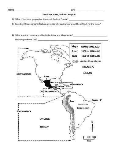Aztec Worksheets aztec inca map and powerpoint by groovingup