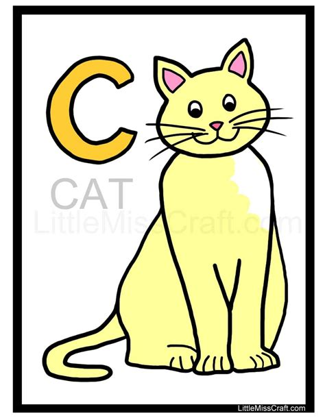 crafts cat alphabet coloring page