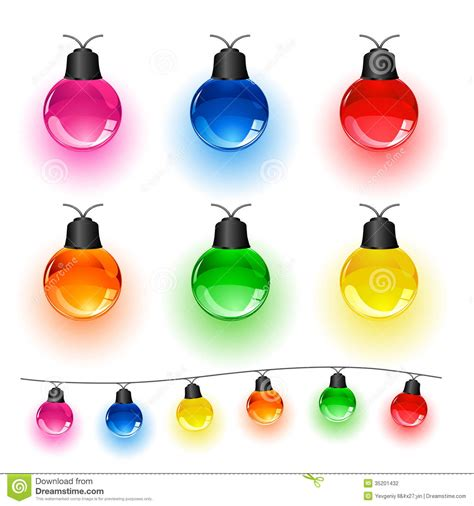 colored christmas lights with white set of lights stock vector image of bulb decor blue