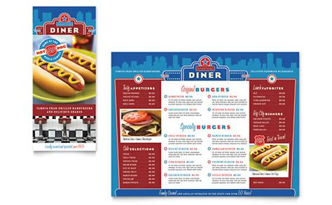 american diner tri fold menu templates food beverage