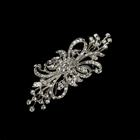 Vintage Wedding Hair Brooches by Vintage Silver Plated Clear Bridal Brooch 3268