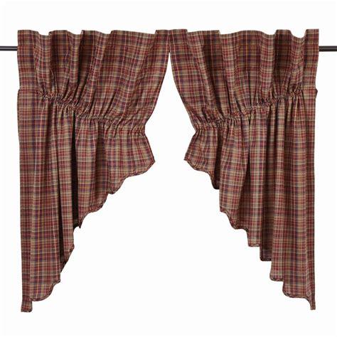 plaid swag curtains parker plaid prairie swag curtains pair www