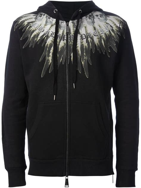 Print Sweater Hoodie Boho Feathers lyst philipp plein skull and feather print hoodie in