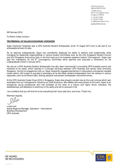 Reference Letter Format Australia Reference Letter From Lucas Lam Cpa Australia