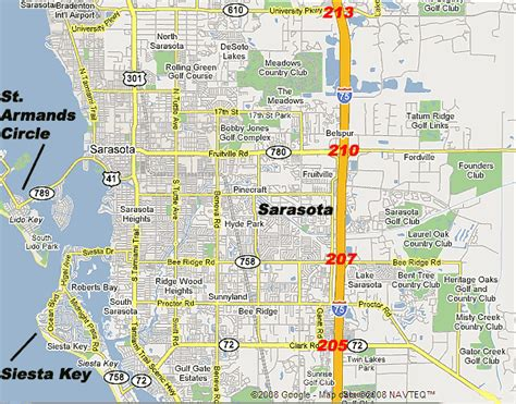interstate 75 map to the siesta key area sarasota