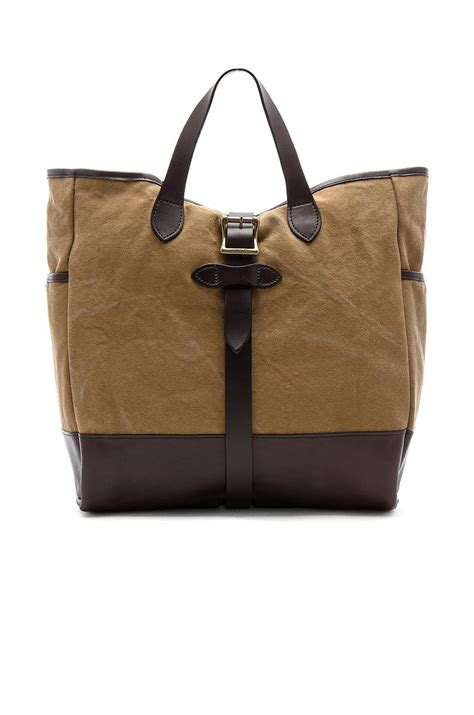 rugged tote filson rugged canvas tote in brown lyst