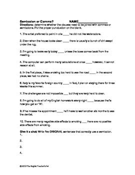 Semicolon Worksheet With Answers