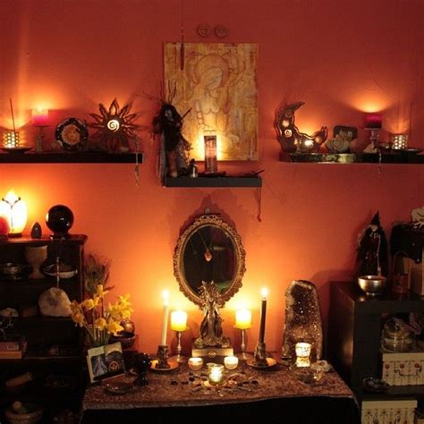 my altar room by candle light pagan