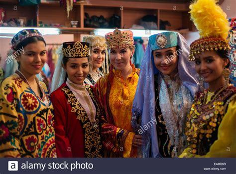 uzbek traditional costume in girl portrait of actresses in traditional uzbek costumes of 19