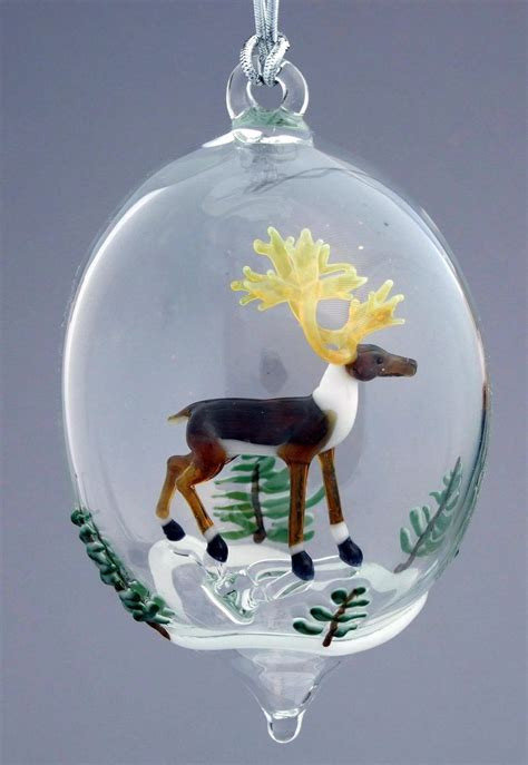 unique personalized ornaments made reindeer and snowy trees blown glass