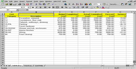 Cost Sheet Template Excel Cost Controller Spreadsheet For Excel