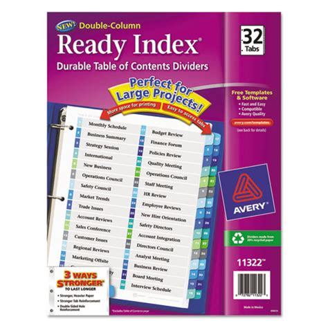 avery table of contents template 10 tab avery 174 ready index customizable table of contents