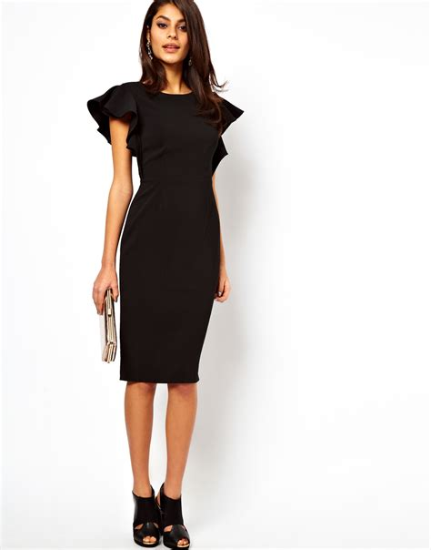 Dress Ruffle Dress asos pencil dress with ruffle sleeves in black lyst