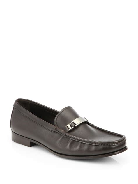 prada leather loafers prada leather dress loafers in brown for brown