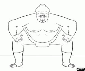 The Sumo Wrestler Coloring Page sketch template