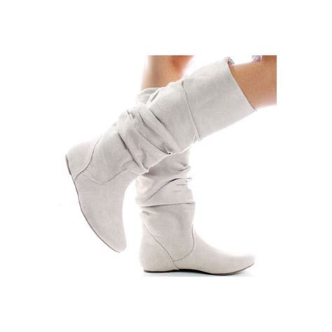 winter white suede slouch scrunch fashion s flat
