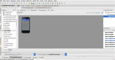android studio palette tutorial learn to create a web browser application using android studio
