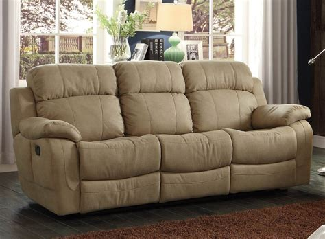marille camel reclining sofa with center drop