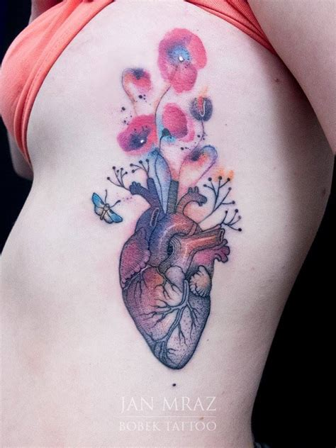 real heart tattoo black ink real on right side rib