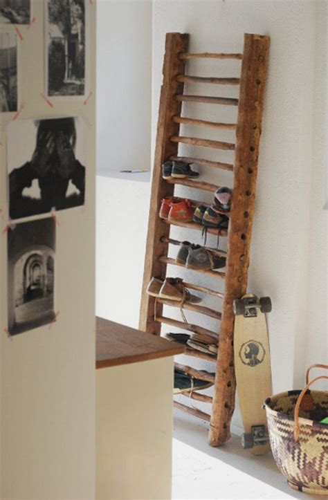 diy ladder shoe rack ideas