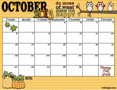 fall calendar template special days in october 2013 still learning something new