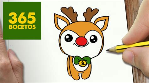 imágenes kawaii de navidad como dibujar un rudolf para navidad paso a paso dibujos